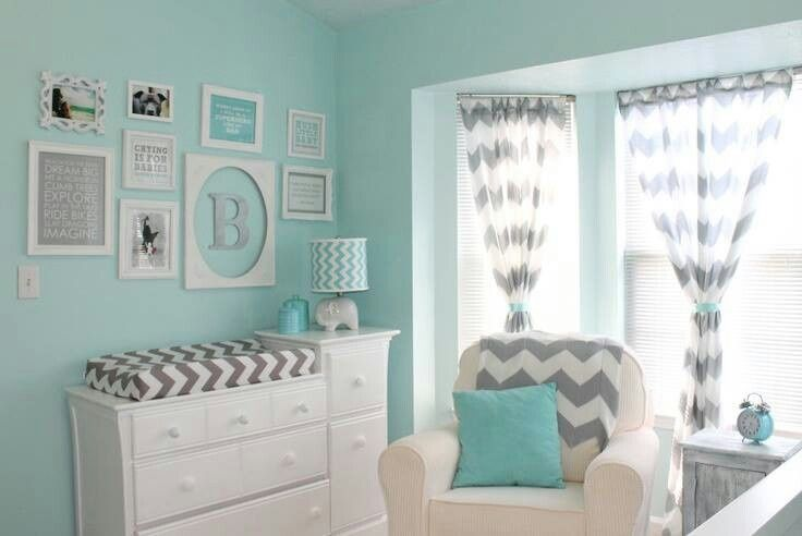 Baby Slaapkamer Nina : Gray and Aqua Nursery