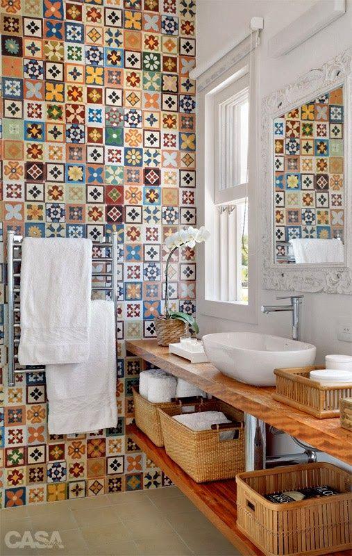 Colorful Wall Tiles Bathroom~ Decoracao Lavabo Vintage