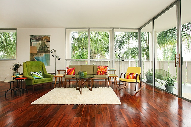 floor-to-ceiling-glass-wall-midcentury-furniture