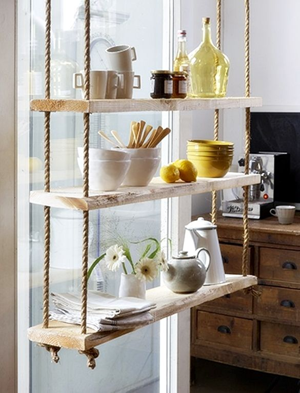 Keuken Opberg Ideeen : Hanging Rope Shelves