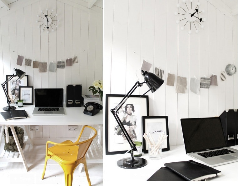 neutral-desk-office-design-yellow-armchair-by-tolix