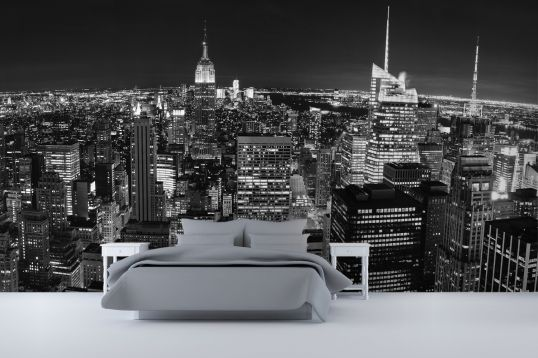 New york kamer for Black and white new york mural wallpaper