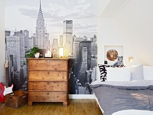New York Behang Slaapkamer : New York City Wall Mural Bedroom