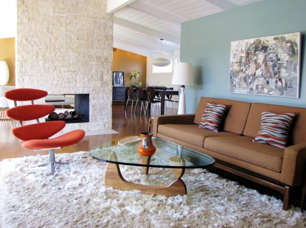 shag-rugs-living-room-midcentury-furniture-red-chair