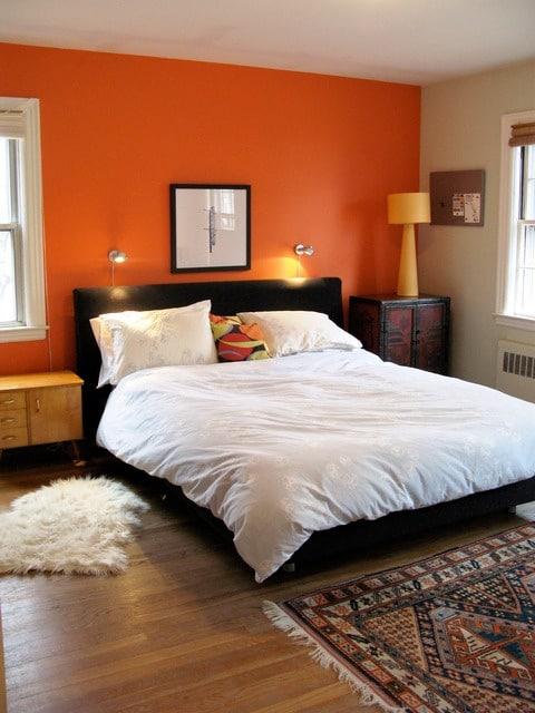Kleur in de slaapkamer interieur insider for Bedroom orange paint ideas