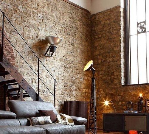 Stenen muur voor woonkamer for Interieur steen