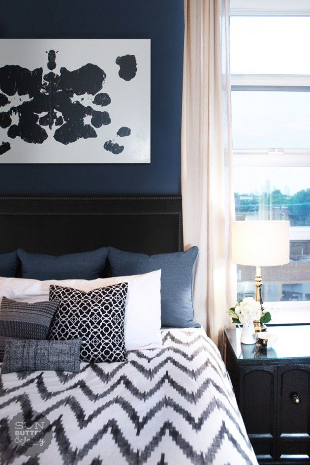 blauwe slaapkamer - interieur insider, Deco ideeën