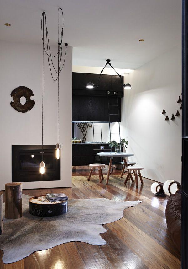 Bruin wit interieur - Deco woonkamer aan de muur wit ...