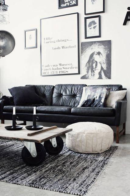 Zwart wit interieur woonkamer