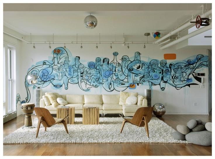 Graffiti thuis op de muur - Deco muurdecoratie ...
