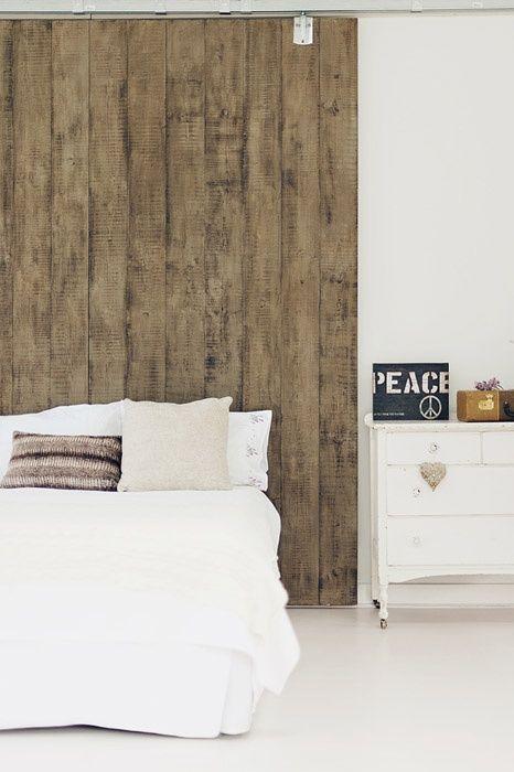 Hout aan de muur for Bed in de muur