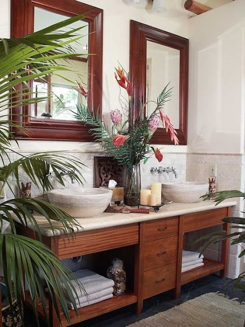Koloniale badkamer - Colonial home decorating concept ...