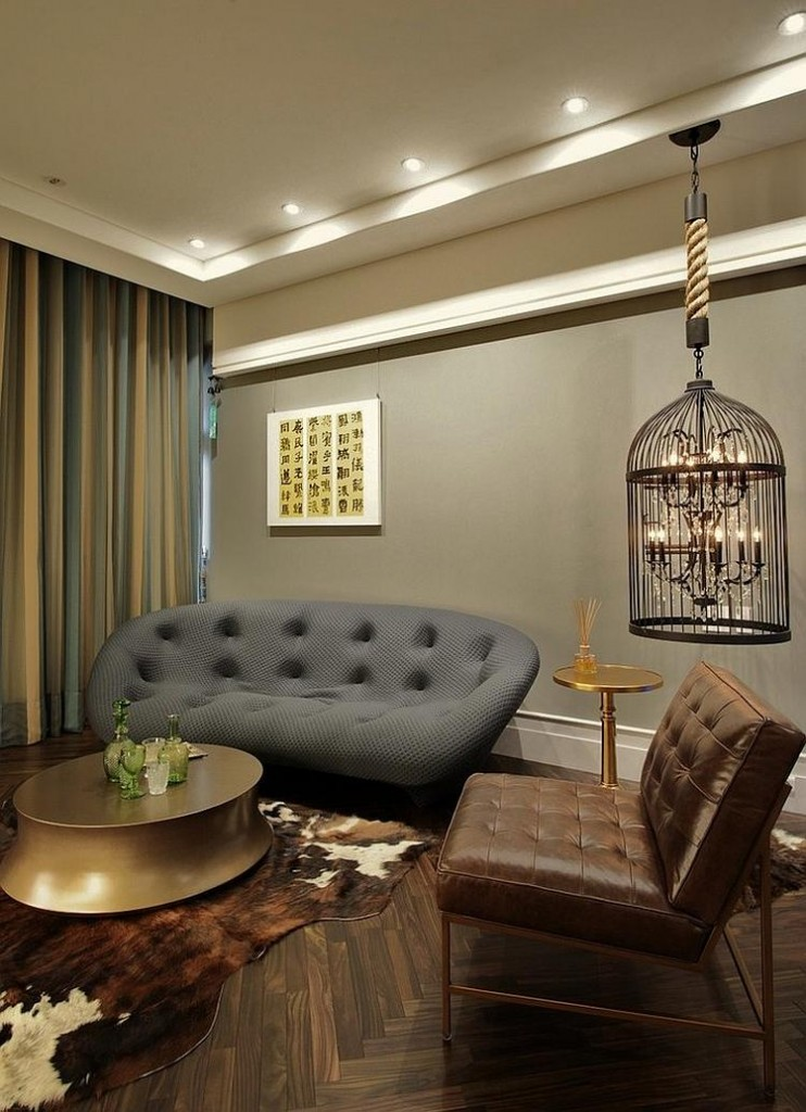 modern-living-room-with-hanging-bird-cage-lighting