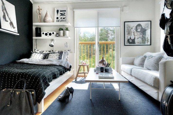 Kleine Slaapkamer Inrichten Ikea : Black and White Bedroom