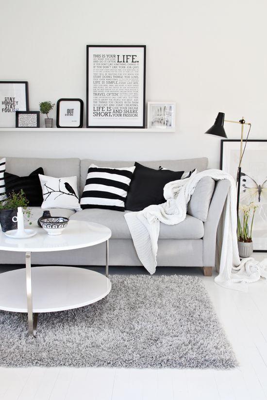 Woonkamer zwart wit interieur insider - Woonkamer in zwart ...