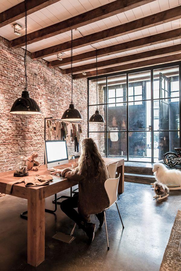 Keukentafel Landelijke Stijl : Exposed Brick Office Industrial Space