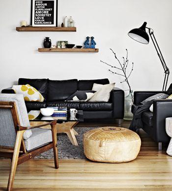 Zwart Leren Bankstel Design.Zwarte Leren Bank Interiorinsider Nl