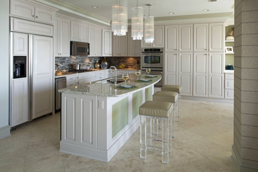 white-kitchen-design-acrylic-chairs