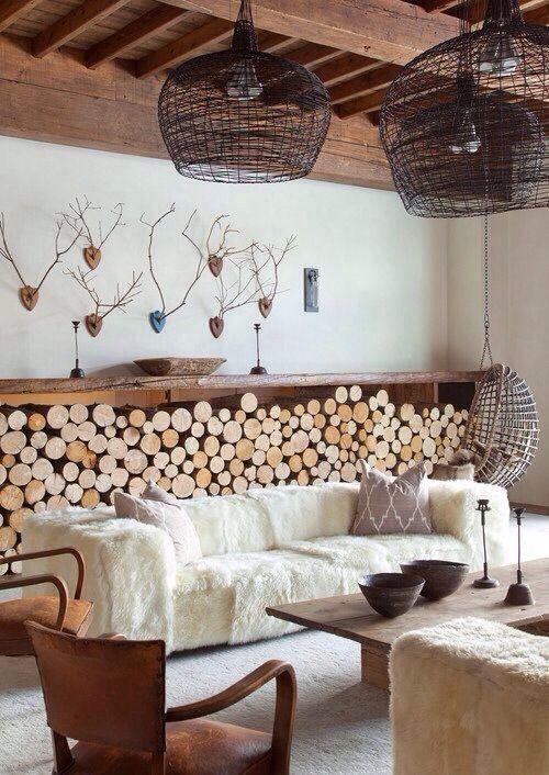 decoratie met houtblokken
