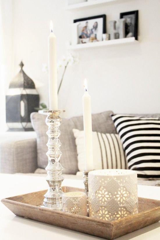Dienbladen met kaarsjes interieur insider - Wat op een salontafel ...