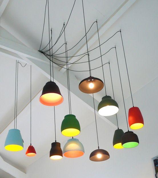 Gekleurde lampen - Comment accrocher un abat jour au plafond ...