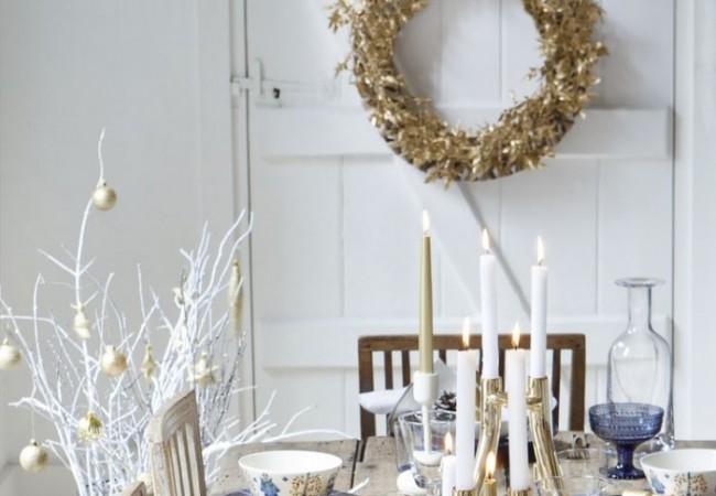 Tafeldecoratie voor kerst en nieuwjaar