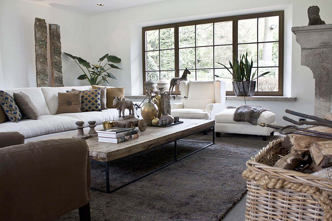 Landelijke living - Kleine moderne woonkamer ...