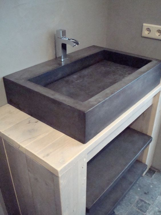 Betonnen wasbak maken interieur insider - Badkamer met wastafel ...