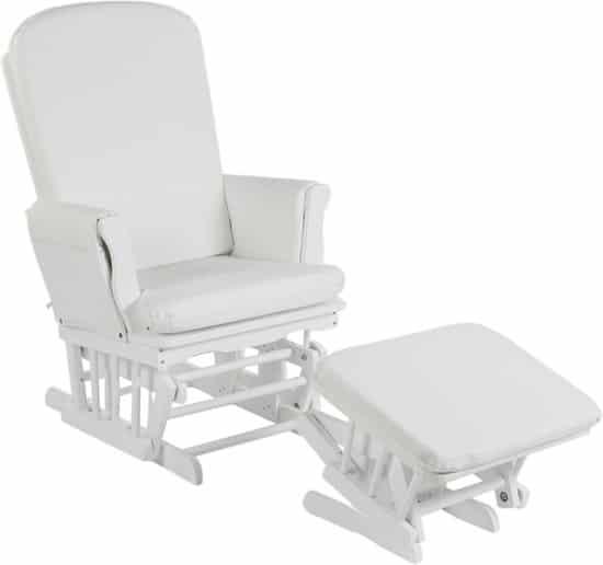 Witte schommelstoel met voetsteun