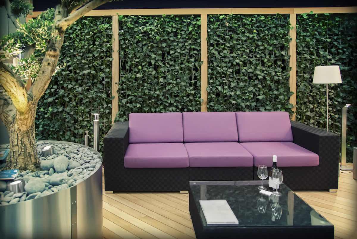 Tuinmeubelen loungebank paars