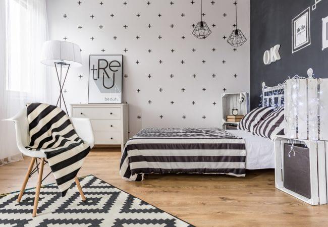 Zwart wit slaapkamer