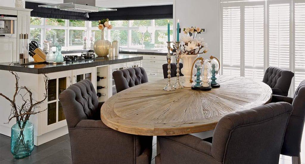 ovale eettafel hout