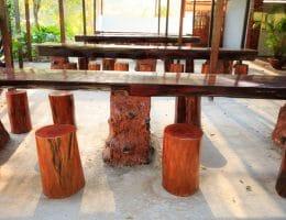 Tafel van eiken boomstam